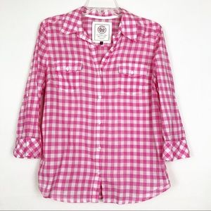 SO | 100% Cotton Pink/White Plaid Button Down Top
